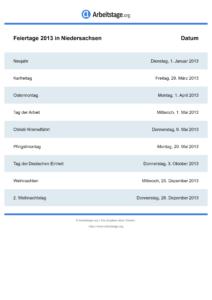 Feiertage Niedersachsen 2013 DIN A0
