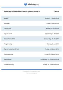 Feiertage Mecklenburg-Vorpommern 2014 DIN A0
