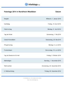 Feiertage Nordrhein-Westfalen 2014 DIN A0