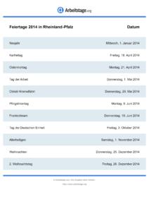 Feiertage Rheinland-Pfalz 2014 DIN A0