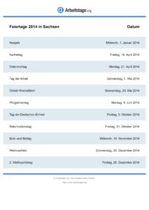 Feiertage Sachsen 2014 DIN A0