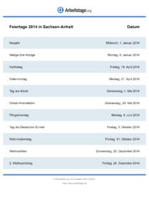 Feiertage Sachsen-Anhalt 2014 DIN A0