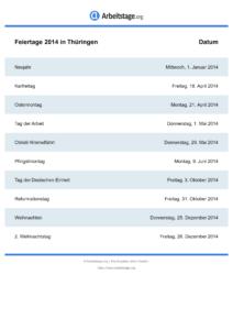 Feiertage Thüringen 2014 DIN A0