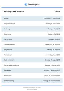 Feiertage Bayern 2015 DIN A0