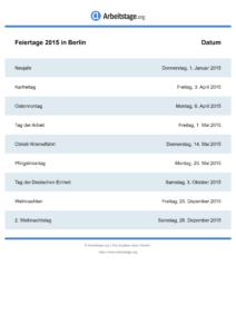 Feiertage Berlin 2015 DIN A0