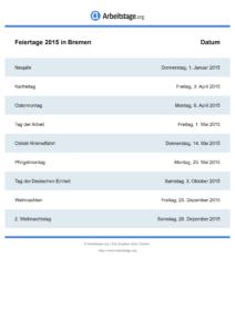 Feiertage Bremen 2015 DIN A0
