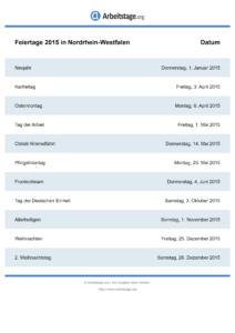 Feiertage Nordrhein-Westfalen 2015 DIN A0