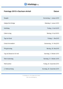 Feiertage Sachsen-Anhalt 2015 DIN A0