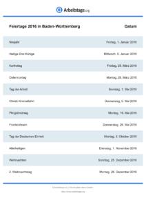 Feiertage Baden-Württemberg 2016 DIN A0