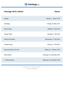 Feiertage Berlin 2018 DIN A0