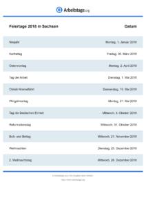 Feiertage Sachsen 2018 DIN A0
