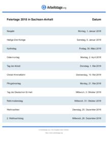 Feiertage Sachsen-Anhalt 2018 DIN A0