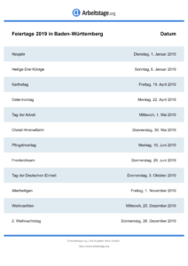 Feiertage Baden-Württemberg 2019 DIN A0