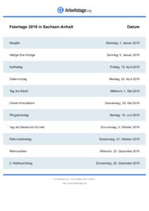 Feiertage 2019 Sachsen-Anhalt DIN A0