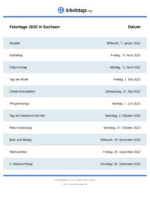 Feiertage Sachsen 2020 DIN A0