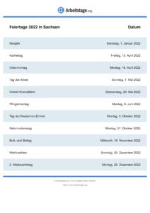 Feiertage Sachsen 2022 DIN A0