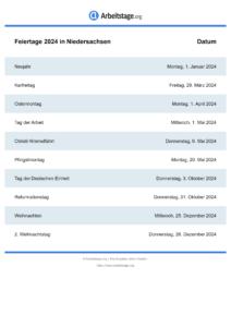 Feiertage Niedersachsen 2024 DIN A0