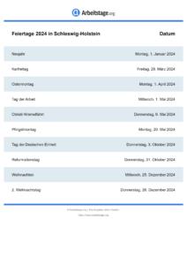 Feiertage Schleswig-Holstein 2024 DIN A0