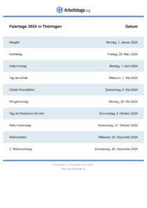 Feiertage Thüringen 2024 DIN A0