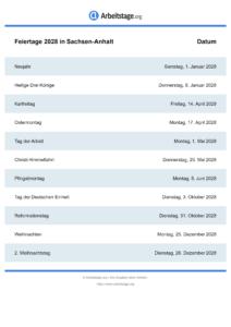 Feiertage Sachsen-Anhalt 2028 DIN A0