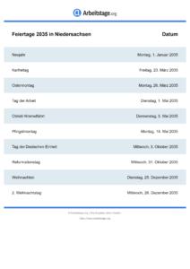 Feiertage Niedersachsen 2035 DIN A0