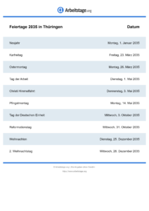 Feiertage Thüringen 2035 DIN A0
