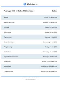 Feiertage Baden-Württemberg 2038 DIN A0