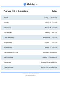 Feiertage Brandenburg 2038 DIN A0