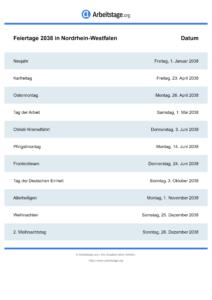 Feiertage Nordrhein-Westfalen 2038 DIN A0