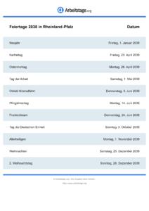 Feiertage Rheinland-Pfalz 2038 DIN A0
