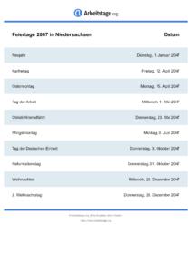 Feiertage Niedersachsen 2047 DIN A0