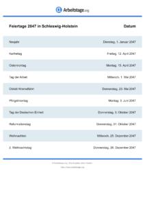 Feiertage Schleswig-Holstein 2047 DIN A0