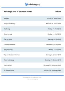 Feiertage Sachsen-Anhalt 2049 DIN A0