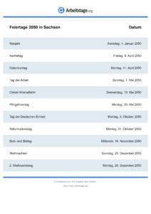 Feiertage Sachsen 2050 DIN A0