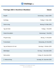 Feiertage Nordrhein-Westfalen 2054 DIN A0
