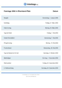 Feiertage Rheinland-Pfalz 2054 DIN A0
