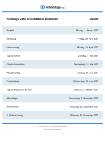 Feiertage Nordrhein-Westfalen 2057 DIN A0