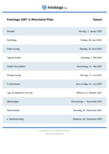 Feiertage Rheinland-Pfalz 2057 DIN A0