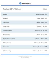 Feiertage Thüringen 2057 DIN A0