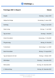 Feiertage Bayern 2061 DIN A0