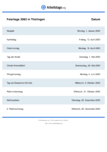 Feiertage Thüringen 2063 DIN A0