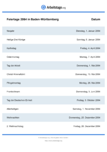 Feiertage Baden-Württemberg 2064 DIN A0