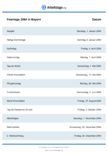 Feiertage Bayern 2064 DIN A0