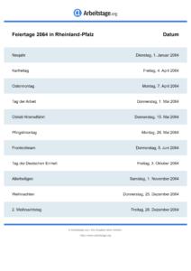 Feiertage Rheinland-Pfalz 2064 DIN A0