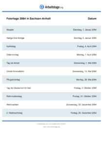 Feiertage Sachsen-Anhalt 2064 DIN A0