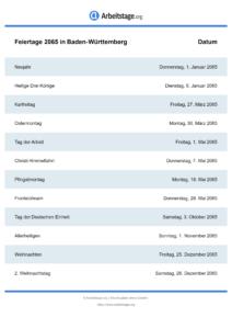 Feiertage Baden-Württemberg 2065 DIN A0