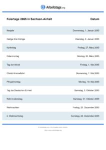 Feiertage Sachsen-Anhalt 2065 DIN A0