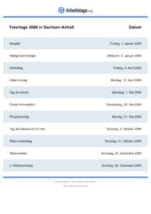 Feiertage Sachsen-Anhalt 2066 DIN A0
