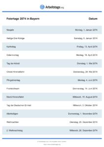 Feiertage Bayern 2074 DIN A0