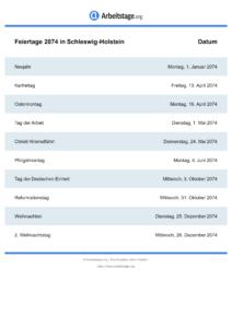 Feiertage Schleswig-Holstein 2074 DIN A0